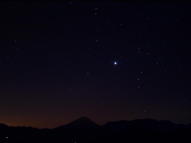 写真: 冬のさそり、明星、富士
