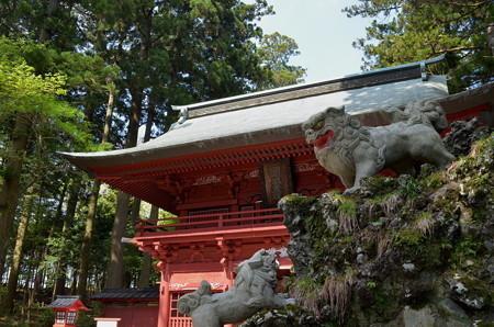 東口本宮浅間神社・神門と狛犬