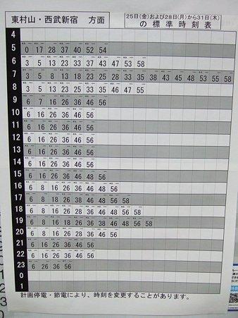 所沢駅 上り朝 減便ダイヤ時刻表(〜3/25)