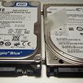 Western Digital Scorpio Blue 2.5inch 5200rpm 1TB 8MB SATA WD10TPVT+内蔵250GB HDD_ P5160058