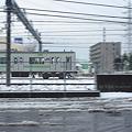雪の残る朝