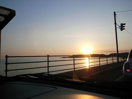 鴎島に沈む夕日